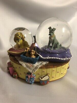 Disney Enesco Lady And The Tramp Double Snowglobe Plays Fur Elise EUC