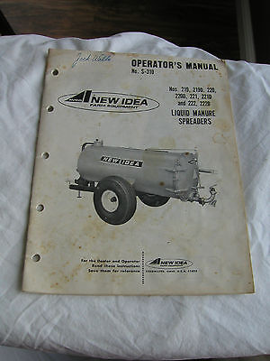 New Idea 219 219d 220 220d 221 221d 222 222d Liquid Manure Spreader Opert Manual