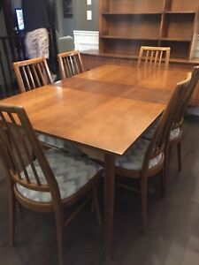 MCM- dining table, 6 chairs and hutch