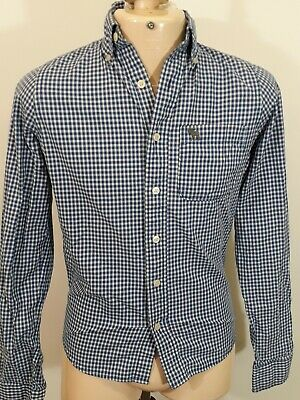 """Abercrombie & Fitch Check Shirt - Size S - Blue & White - Muscle Fit - P2P 20"""""""