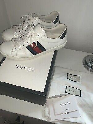 Men's Authentic Gucci Leather Ace Shoes Size 9 1/2