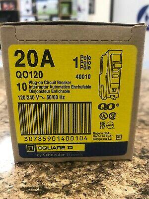 Square D Qo 20 Amp Single-pole Circuit Breaker Newlot Of 10