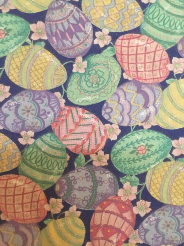 """Cute Colorful Vintage Oval EASTER EGG TABLECLOTH Cotton 60"""" X 80"""""""