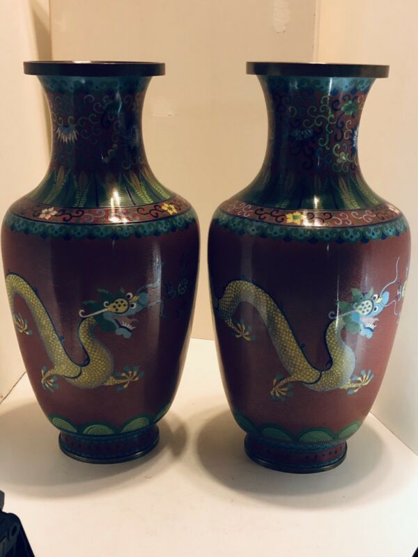 Chinese Vintage Pair Of Large Dragon Cloisonné Vases