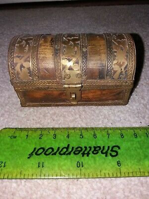 VINTAGE HANDMADE WOOD AND BRASS  PIRATE BOX