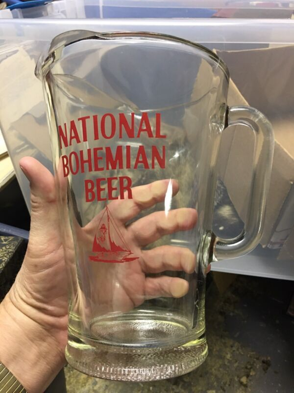 Vintage National Bohemian Beer Glass Pitcher Excellent Condition!
