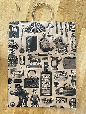 75 Brown Paper Twist Handle Carrier Bags With Antiques Designs