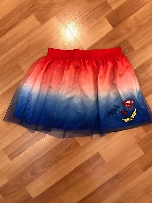 DC Superhero Girls' L (10/12) Red, White & Blue Ombre Tutu Skirt Costume (Superhero White Costume)
