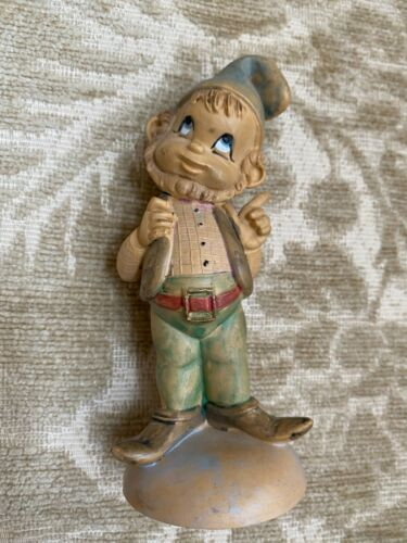 Vintage Depose Plastic Gnome Elf Figurine Fontanini Italy Spider Mark
