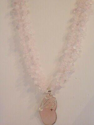 Genuine Rose Quartz Multi Strand Heart Necklace Genuine Heart Rose Quartz Necklace