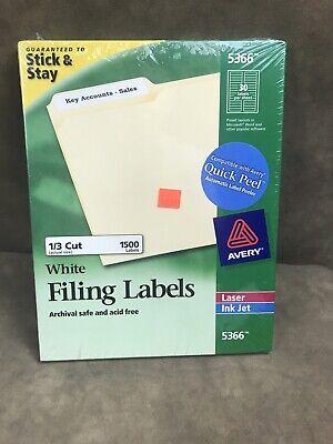 Avery Permanent File Folder Labels Trueblock Inkjetlaser White 1500box 5366 Fs