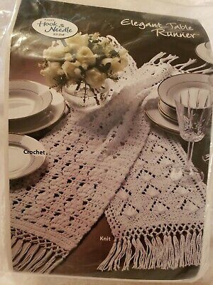 Annie's Hook and Needle ELEGANT TABLE RUNNER Crochet/Knit Kit HNK918