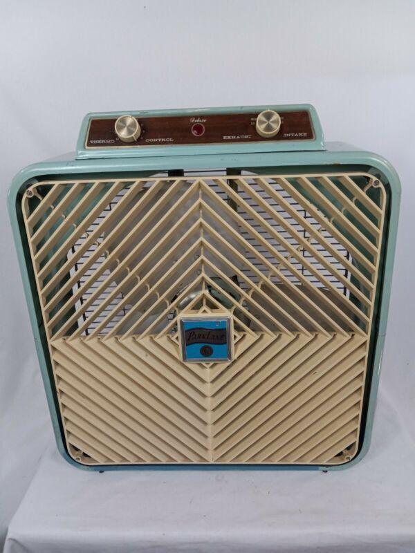 """Vintage Park Lane Deluxe MCM 3 Speed Intake/Exhaust Teal Blue Box Fan 20"""" Metal"""