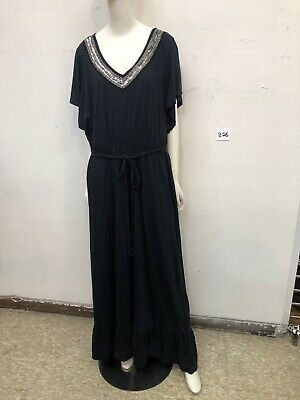 Lane Bryant Black Maxi Dress-Short Sleeves-Cut Out Detail-Size 26/28-NWT