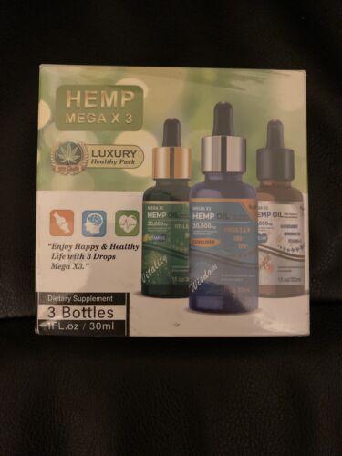 Hemp  Mega X 3  Oil 30000mg Luxury Healthy Pack- NEW SEALED 12/17/2021