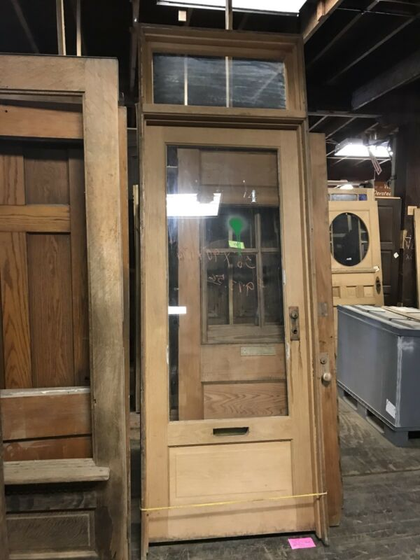 "Old Oak Office Door And Jamb With Transom. Stripped And Ready For Reuse 36"" X 90"