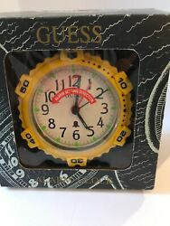 Guess Analog Alarm Clock Vintage Retro Yellow Bedroom Bedside Battery Operated