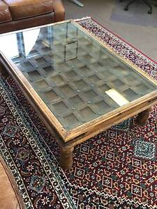 Rustic antique wooden glass top coffee table Mosman Mosman Area Preview