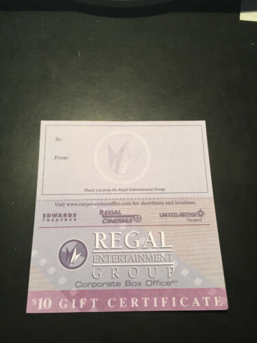 10 Regal Movie $10 Paper Gift Cards Good 4 Admission Tickets Passes Concession.