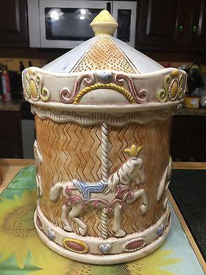 Vintage Treasure Craft Carnival Carousel Horse Cookie Jar HTF