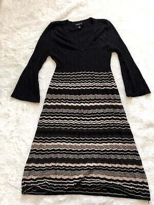 Nine West Sweater Dress Black Striped V Neck Long Sleeve Knee Length Medium