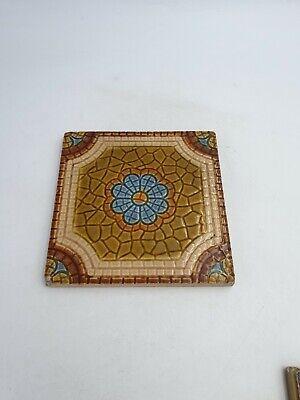 Antique Art Nouveau England Square Shaped Tiles Blue Floral Brown Mural Effect