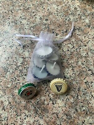 Beer Bottle Cap Candles Set of 5 - ORGANIC - SOY WAX Candles Organic Soy Wax
