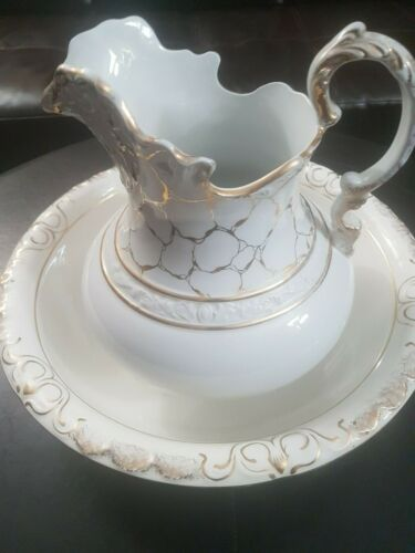 Very Large Ironstone? Pitcher & Basin Set ~ Wash PITCHER and BOWL gold detailing