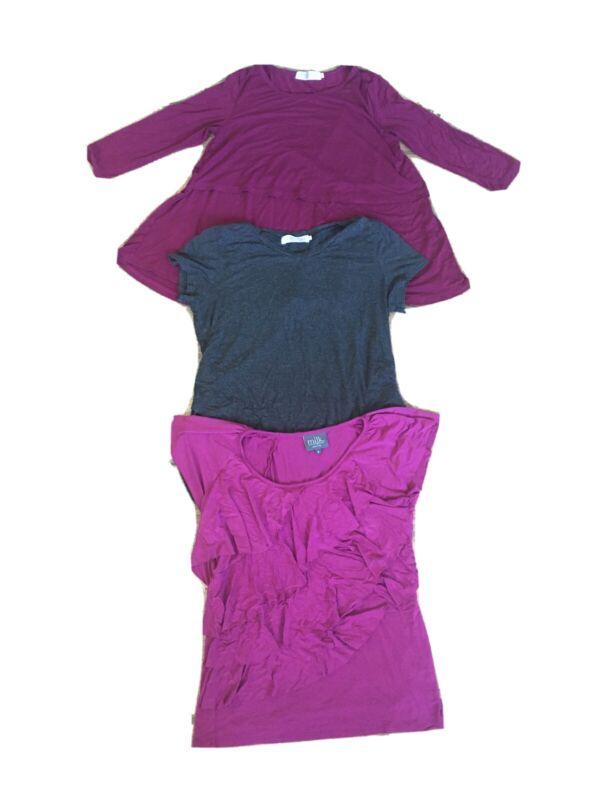 Latched Mama & Milk Nursing Ware Lot of 3 Tops Shirts Pink Gray Breastfeeding S