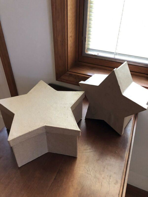 Unfinished Paper Mache Star Nesting Boxes | 2 Boxes