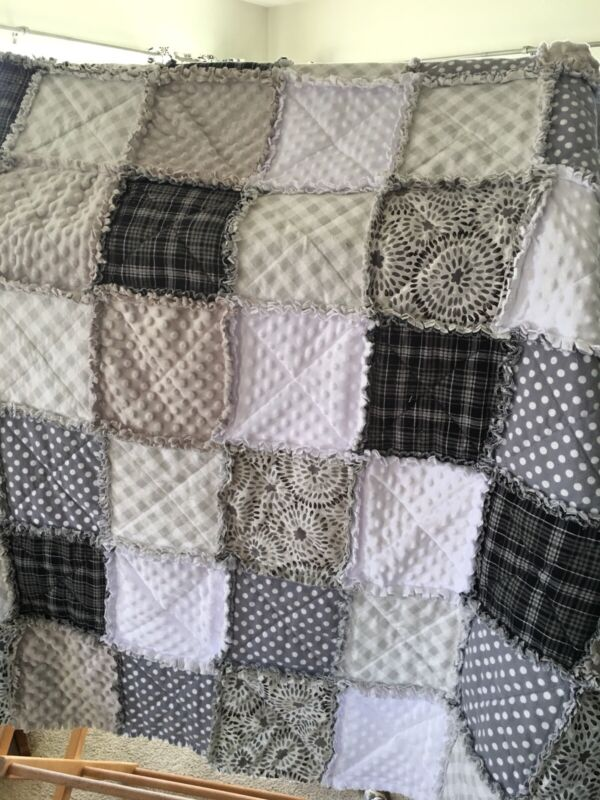 New Throw Size Rag Quilt Handmade you Choose Colors, Flannel Or Cotton