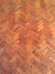 Reclaimed Church Hall Pitch Pine Parquet Flooring