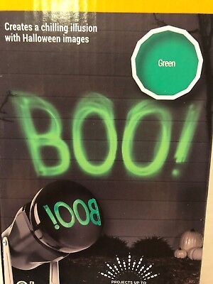 Halloween Projection 2019 (Lightshow Projection ShadowWaves Happy Boo Green by Gemmy Industries)