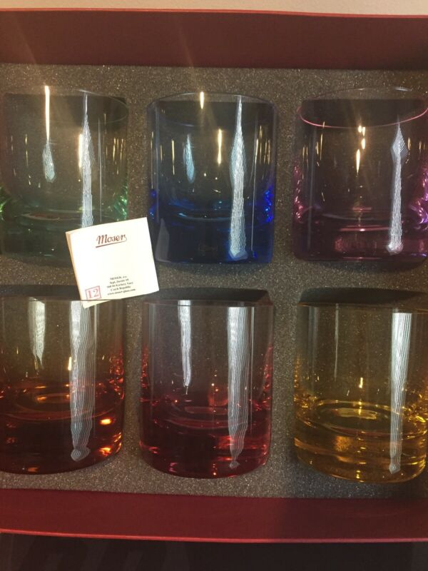 Moser 6 Set Colored Glasses With Tags. New Whisky Type. Rock Type Unique Colors