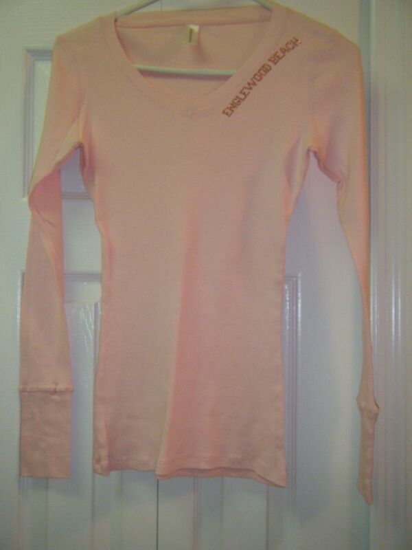 NOUVELLA COTTON LONG SLEEVE PINK CASUAL TEE ENGLEWOOD BEACH NEW