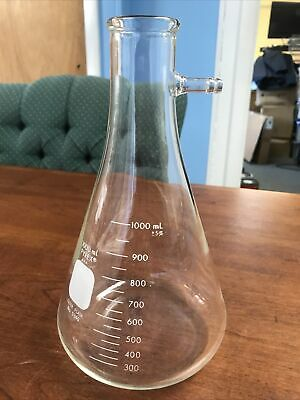 5340-1l Pyrex 1000 Ml Erlenmeyer Filter Flask Side Arm Used By Bristol Myers