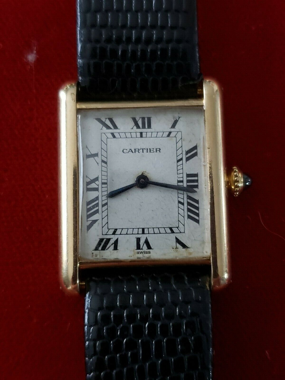 Vintage Cartier 18k Yellow Gold Manual Wind 23 mm Tank Watch Runs  NO RESERVE! - watch picture 1