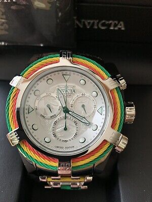 INVICTA BOLT ZEUS 27496 RASTAFARIAN TRI COLORED CABLES WITH SWISS MADE MOVEMENT