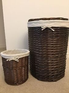 Set of Wicker Laundry bin and trash can