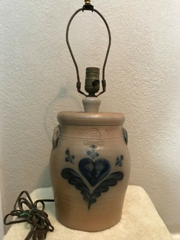 "Rowe Pottery blue salt glazed 10""  table lamp  1989-heart pattern"