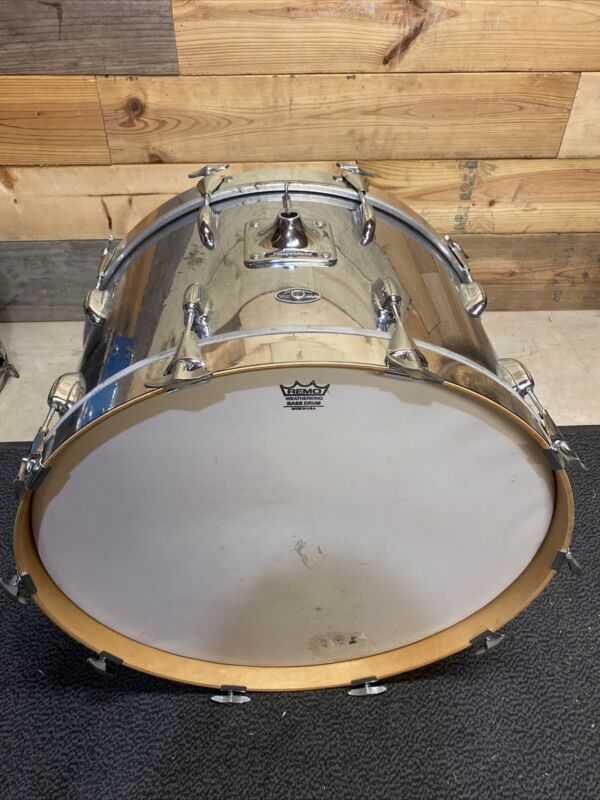 Slingerland 3ply, Chrome, 24x14 Bass Drum, DW Hoops, Clear Maple Interior