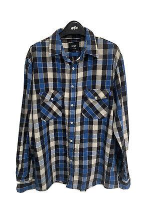 HUF XL Blue Check Long Sleeve Shirt