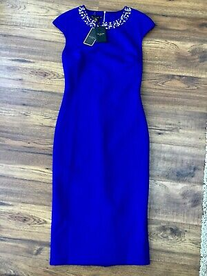 Ted Baker BNWT Size 2 (8 - 10) Embellished Elenna Blue Midi Dress Evening Party