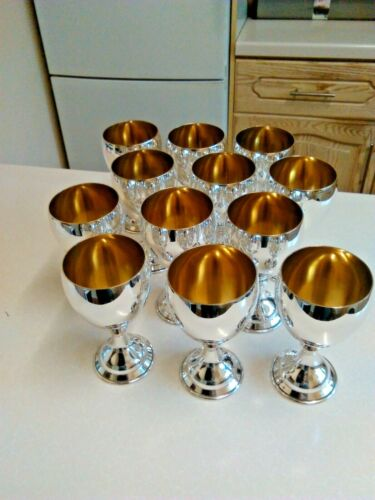 Set of 12 Vintage Silver Plated Wine Goblets with Gilded Bowls (3688)