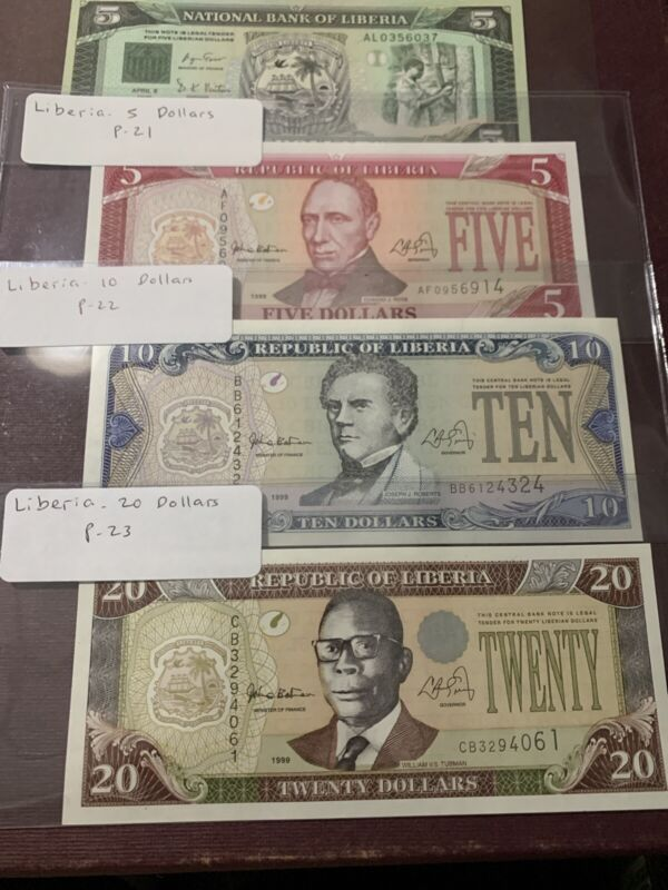 Liberia 20  10 5. 5 Dollars 1999 UNC P. 23,  22 21 20 Banknotes, Uncirculated