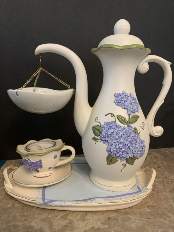 YANKEE CANDLE HANGING TART BURNER WARMER WHITE TEAPOT & CUP BLUE HYDRANGEAS