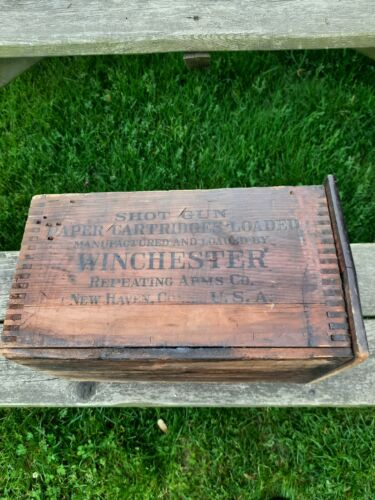 Antique Winchester Repeater 12 Gauge Shot Shell Wood Ammo Crate Box