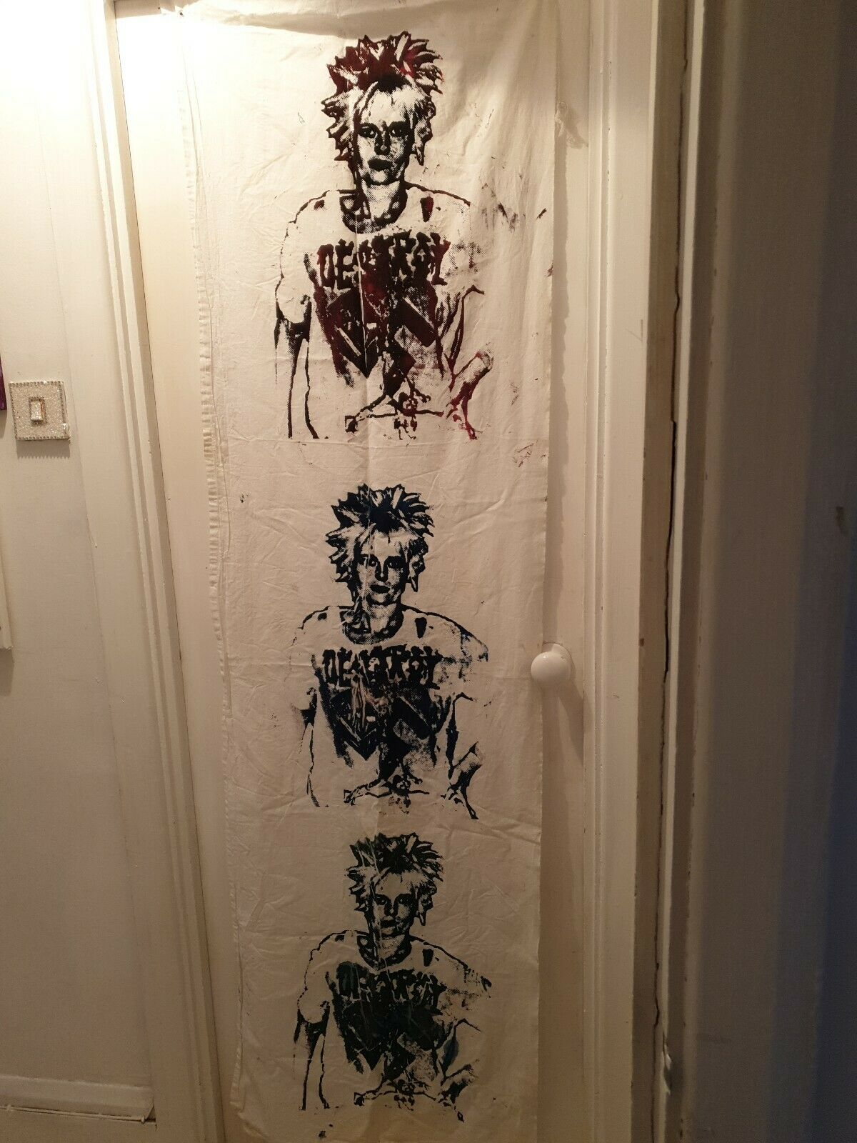 "Huge Triple Vivienne Westwood Screen Print ""Destroy Fascism""On Fabric PunkUnique"