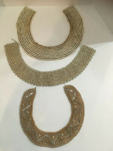 "3 Vintage ""Glentex"" Beaded Faux Pearl Collar Made in Japan"