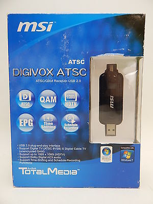 MSI DIGIVOX ATSC USB TV Tuner Watch Record TV Programs HDTV 1080 USB Black